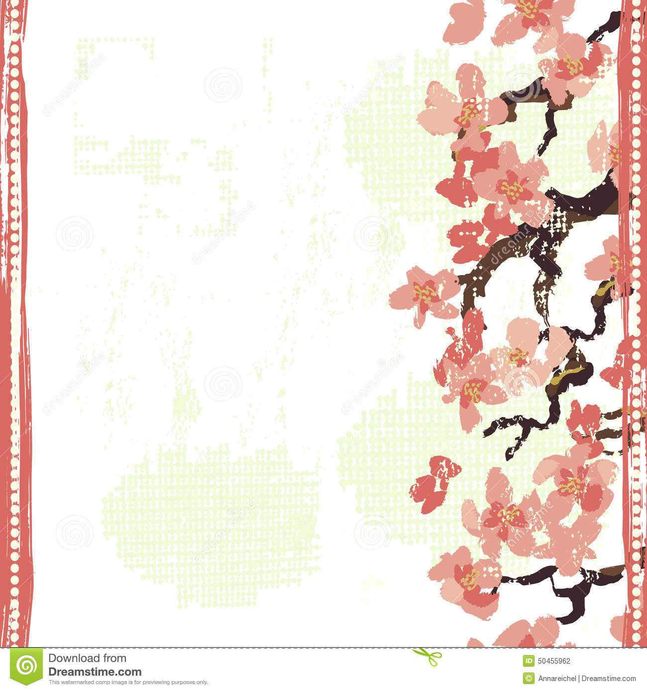 hand painted textured blooming sakura seamless border