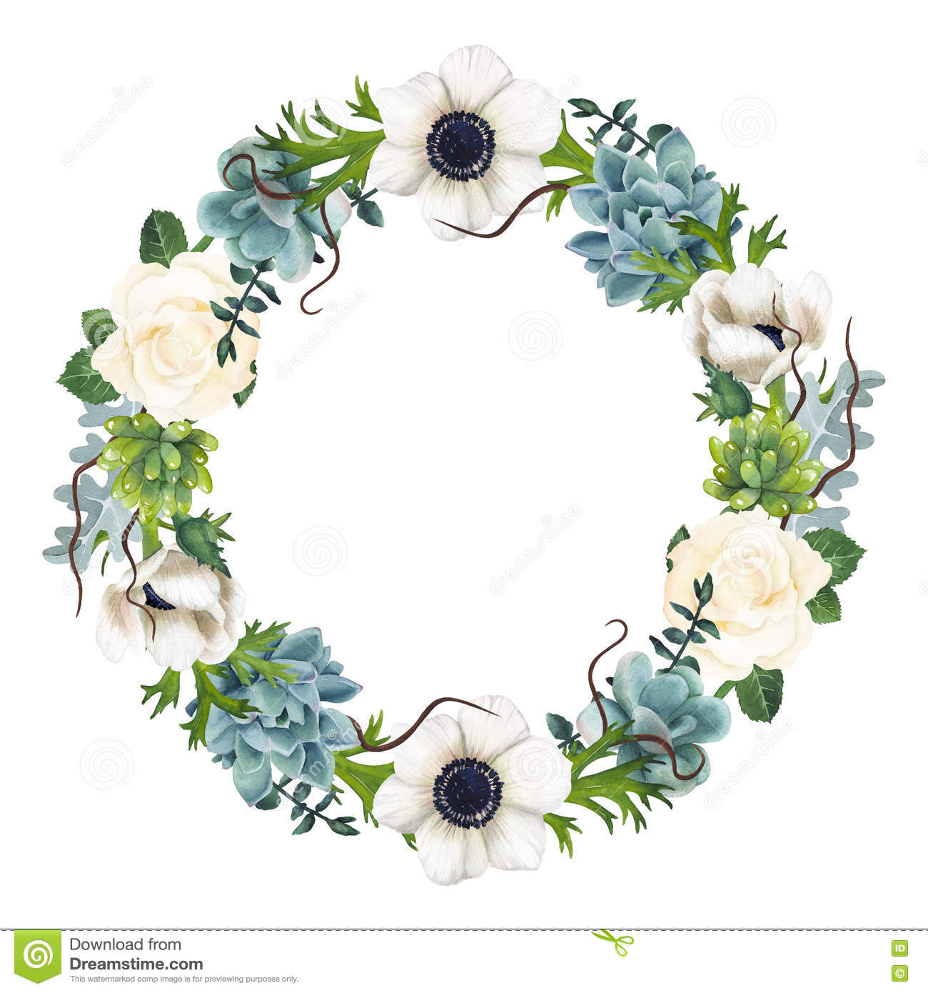 Hand Painted Watercolor Anemones And Succulents Wreath Stock Illustration Illustration Of Dark Posters 81491604