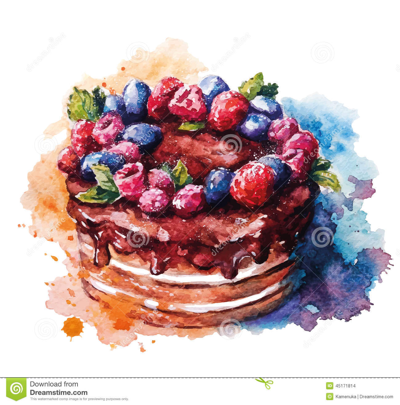 hand painted watercolor cake vector illustration derived painting 45171814 birthday cake illustration vector 2 on birthday cake illustration vector