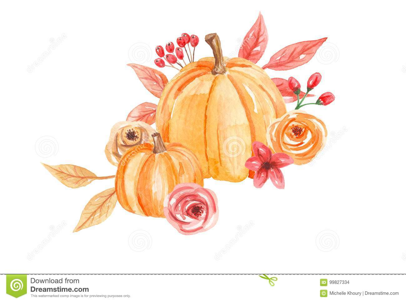 Watercolor Pumpkins Flowers Hand Painted Fall Autumn ...
