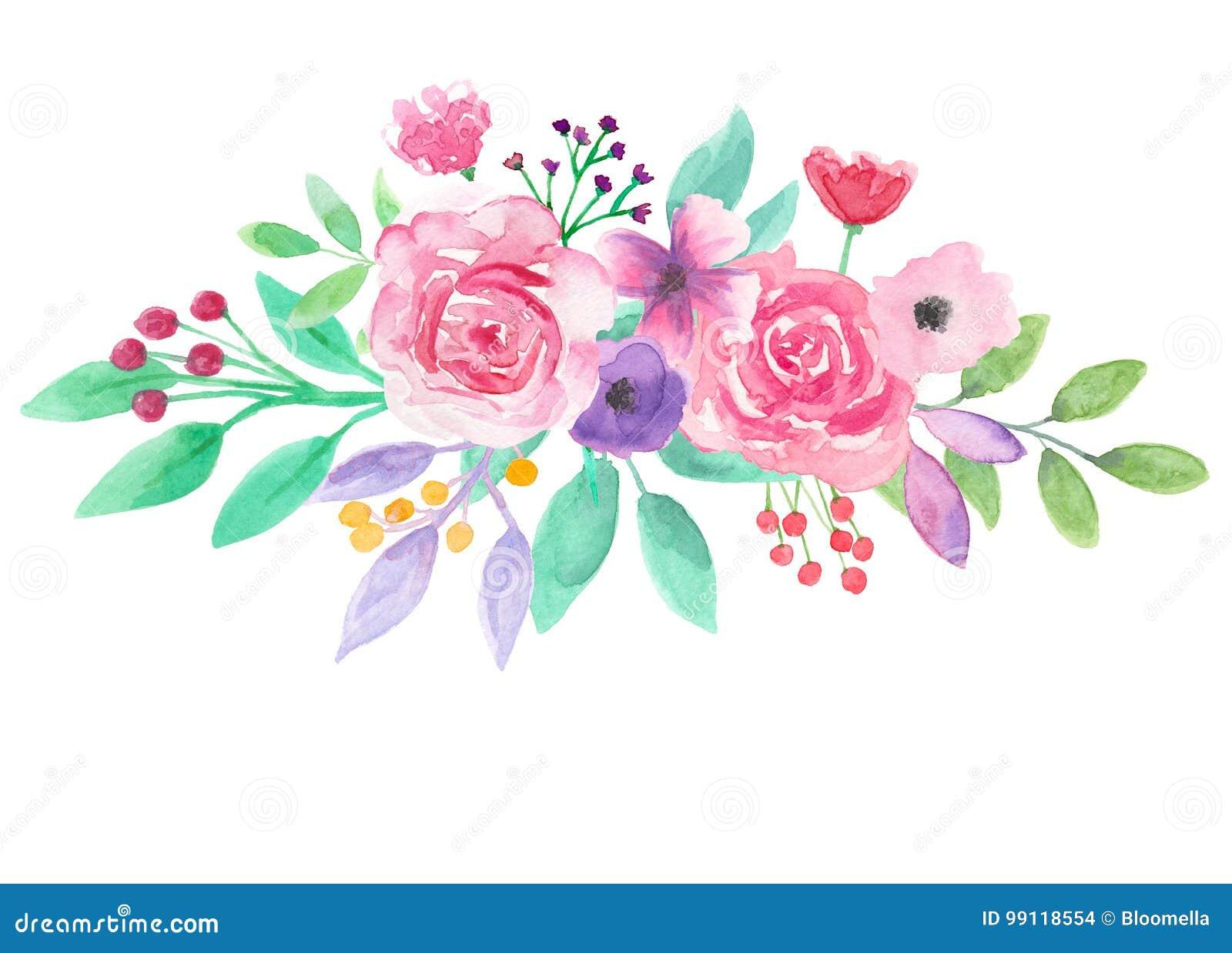 Watercolor Flower Arrangement Pink Floral Purple Hand ...