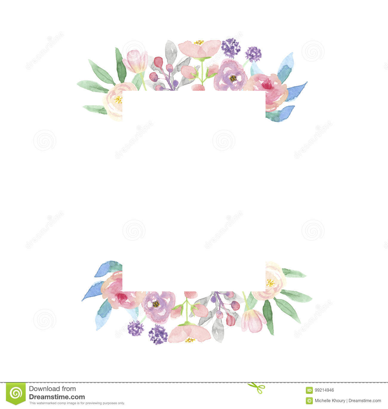 Watercolor Frame Wreath Summer Flower Arrangement Pink ...