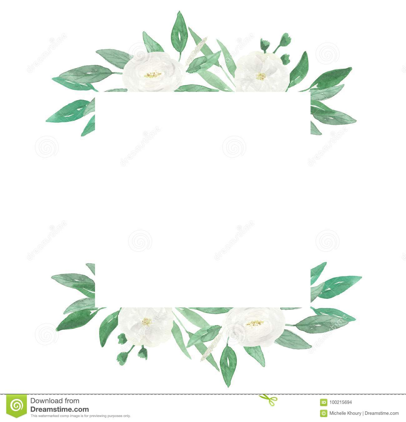 Watercolour Garland White Wedding Flower Hand Painted Wreath Summer
