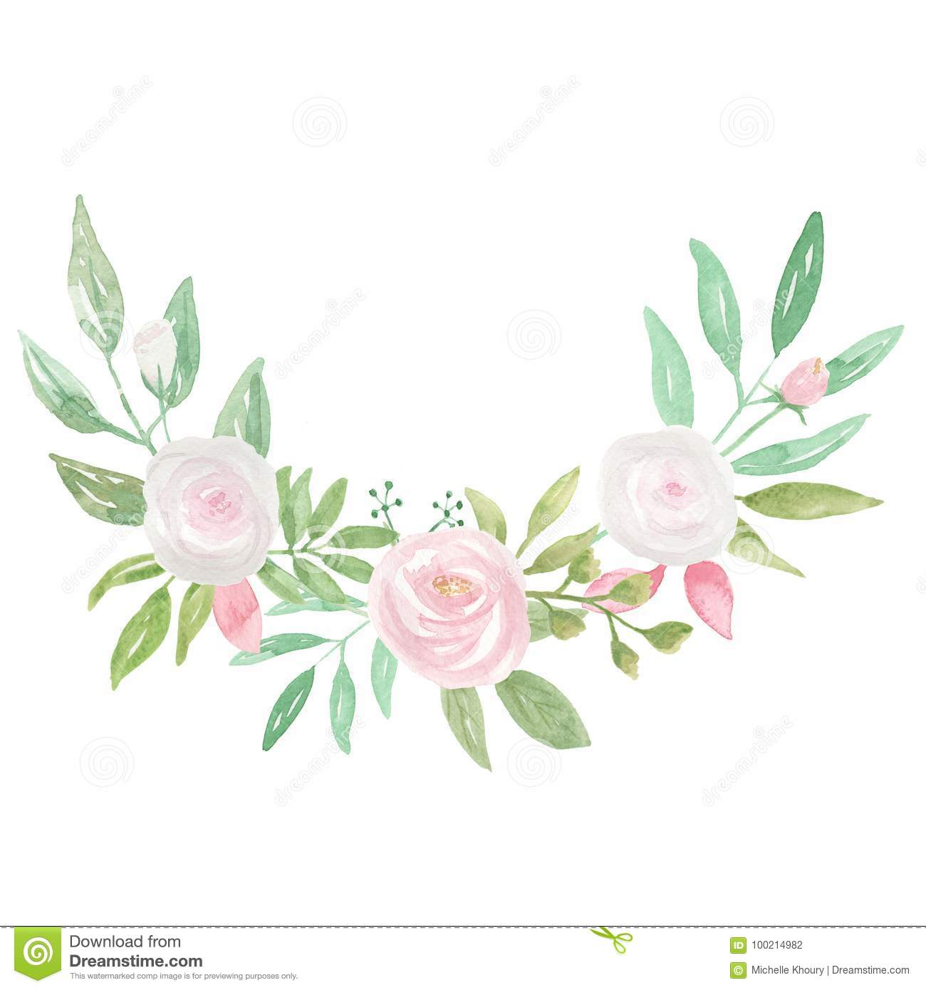 Watercolour Frame Pink White Bouquet Garland Flower Hand Painted