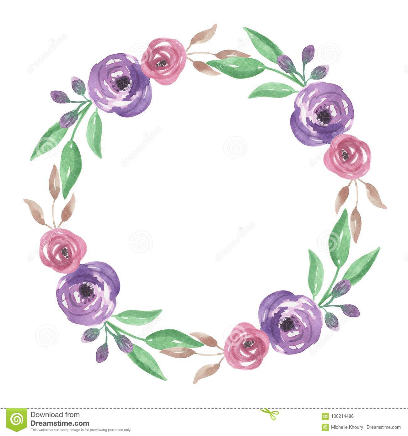 2a94a8141 Watercolour Pink Purple Flower Circle Hand Painted Summer Frame ...
