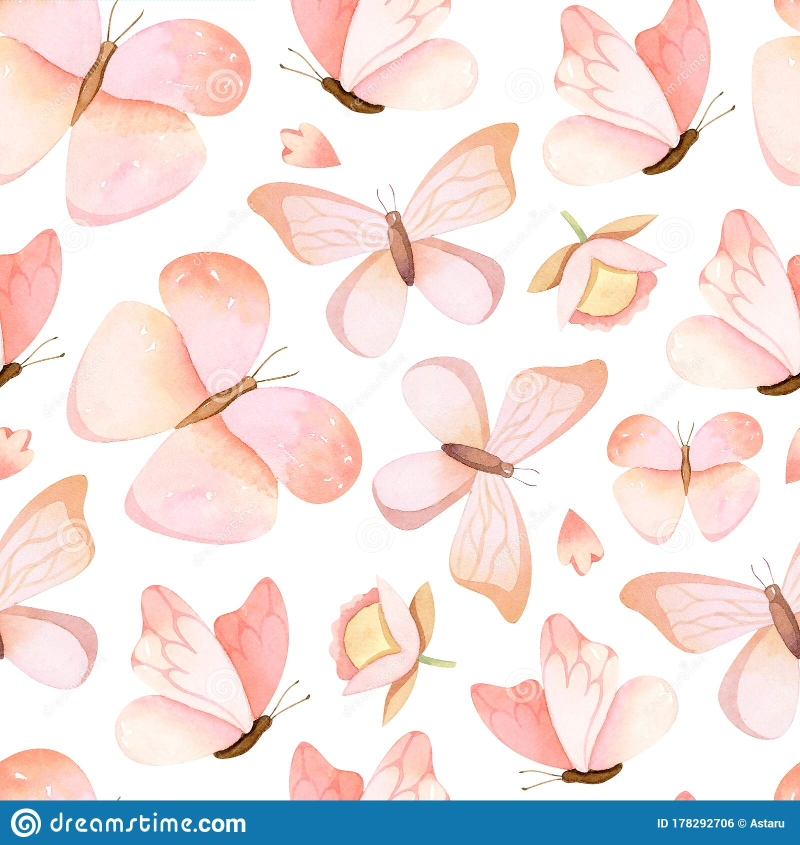 Hand Drawn Pastel Pink Butterflies Watercolor Seamless Pattern Stock Illustration Illustration Of Painted Butterfly 178292706