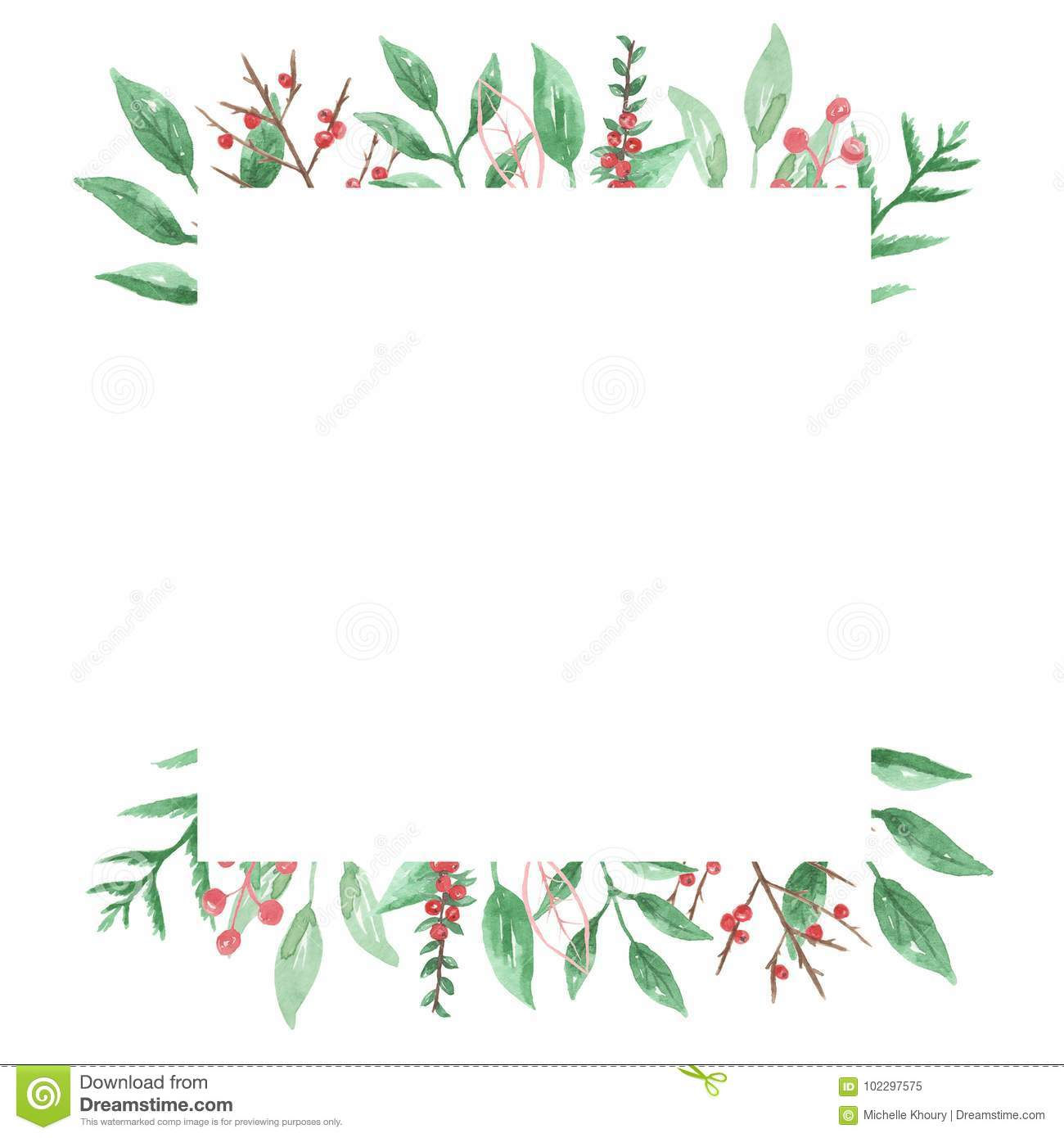 Watercolor Festive Winter Border Holidays Wreath Holly Berry Square Stock Illustration Illustration Of Fall Leaves 102297575