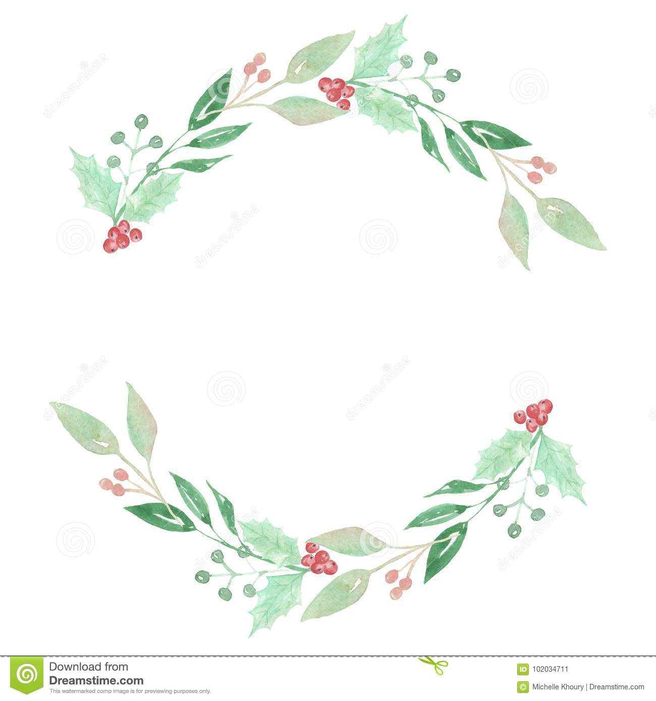 Watercolor Festive Winter Holidays Wreath Holly Berry Garland Stock Illustration Illustration Of Beige Holidays 102034711