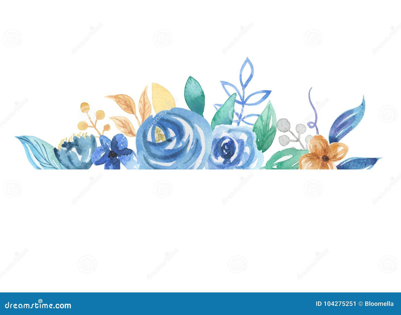 Watercolor Florals Border Blue Berries Leaves Wedding Flowers Stock