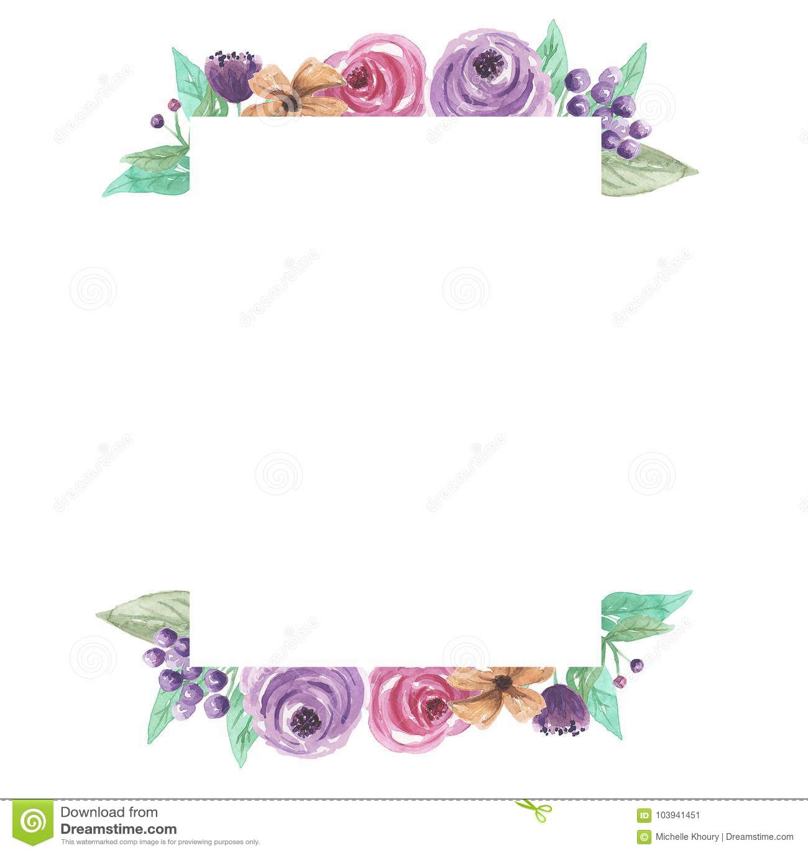 Wedding Flower Borders: Watercolor Rectangle Florals Frame Border Arrangement