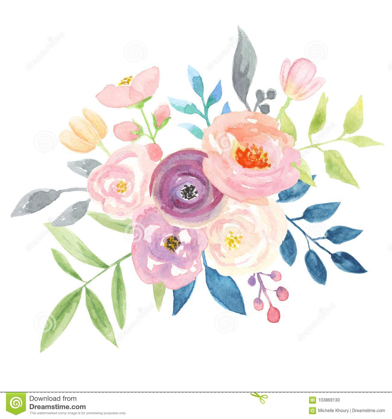 Watercolour berries bouquet arrangement pretty pink wedding flowers download watercolour berries bouquet arrangement pretty pink wedding flowers stock illustration illustration of blue izmirmasajfo