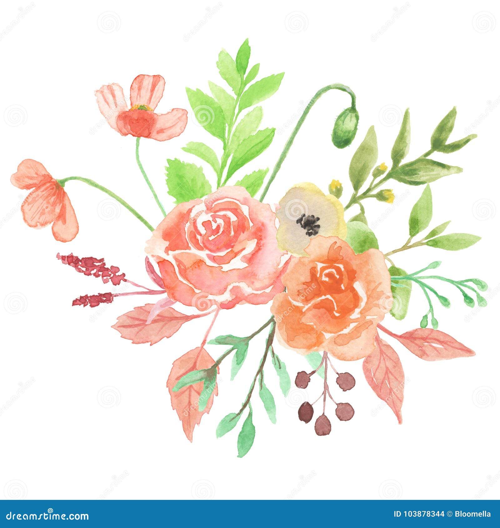 Watercolor Poppy Florals Bouquet Arrangement Pretty Wedding Flowers