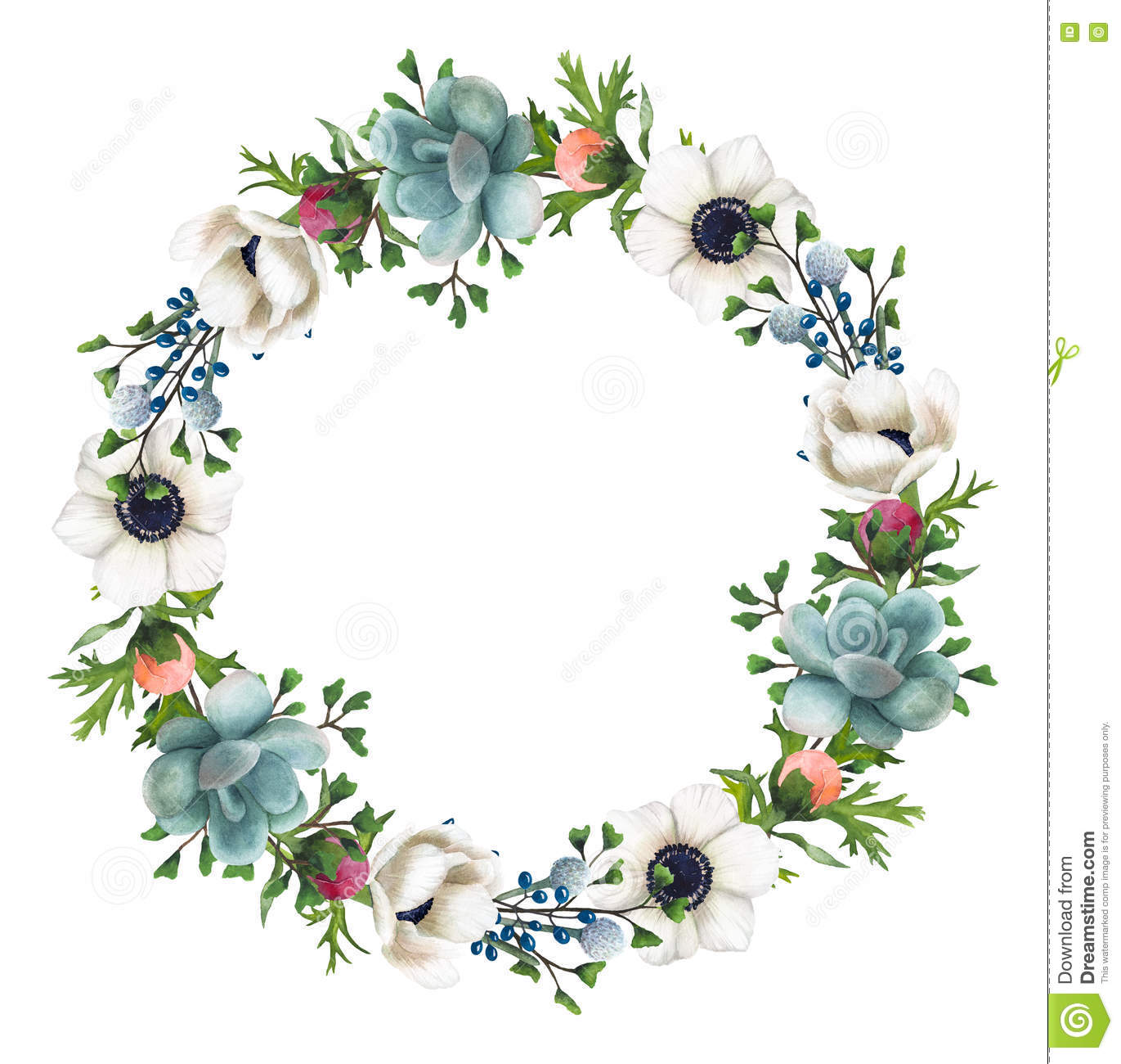 Hand Painted Watercolor Flowers And Succulents Wreath Stock Illustration Illustration Of Scrapbooks Posters 81493950