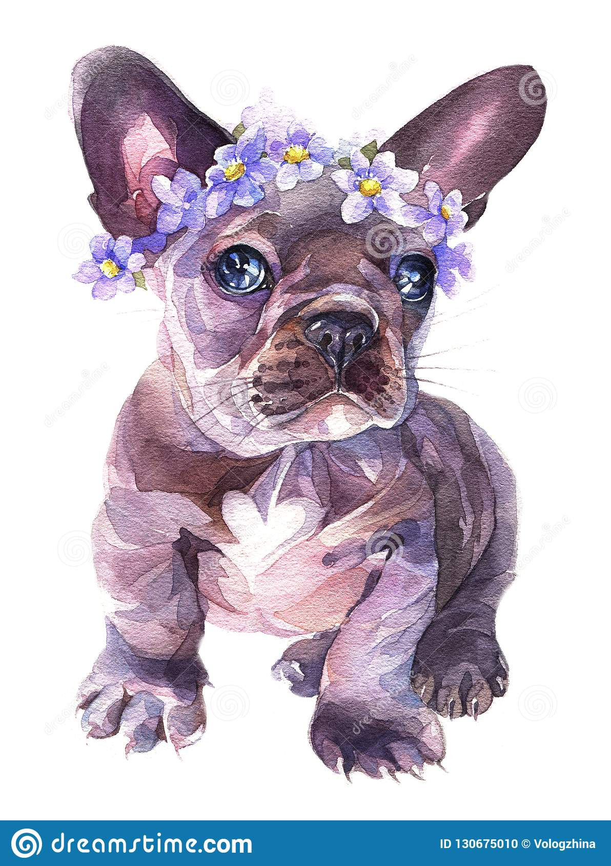 Hand painted watercolor. French bulldog with a flowers wreath on his heard.