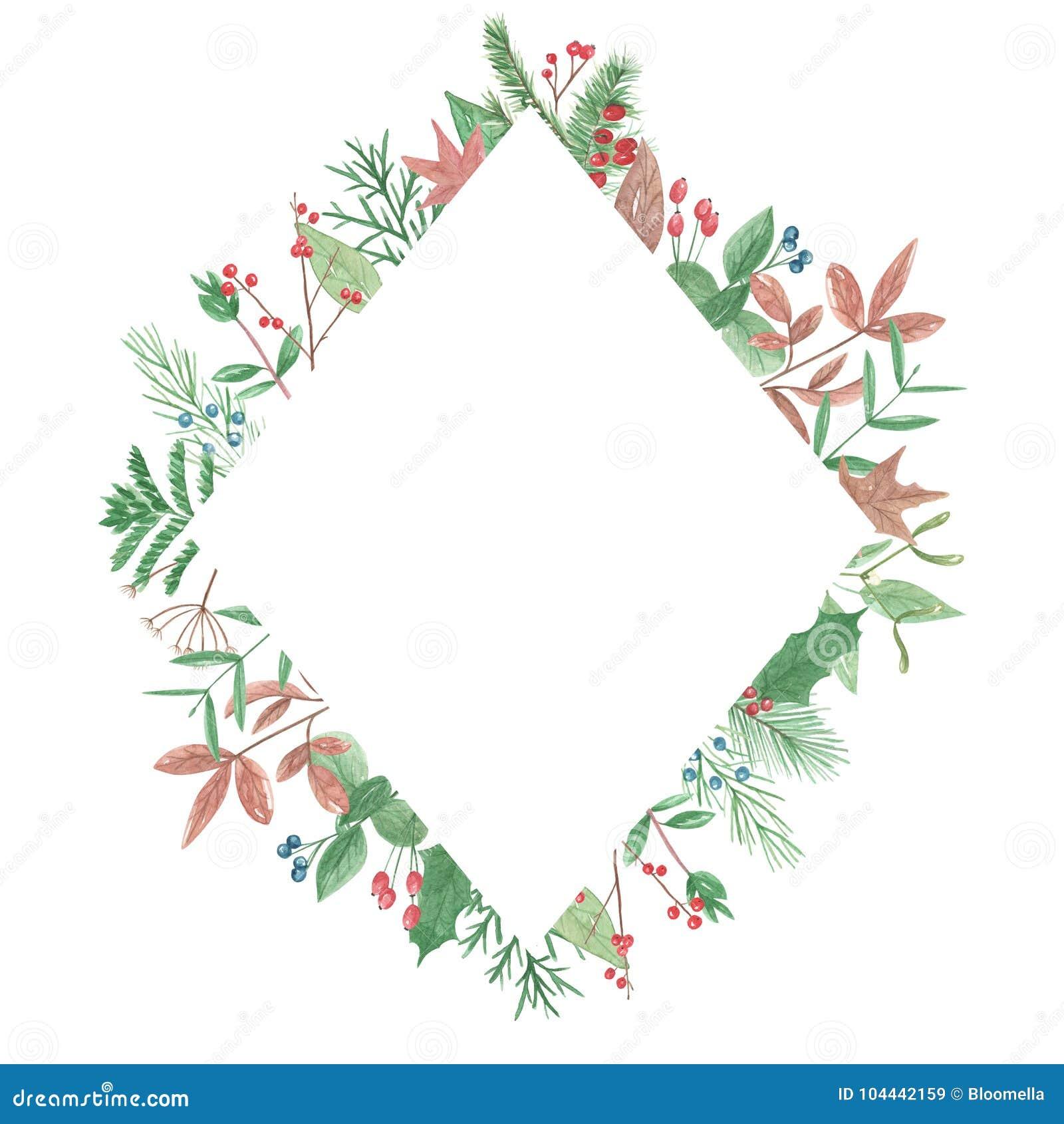 c686fb722431 Watercolor Foliage Diamond Border Frame Winter Berries Leaves ...
