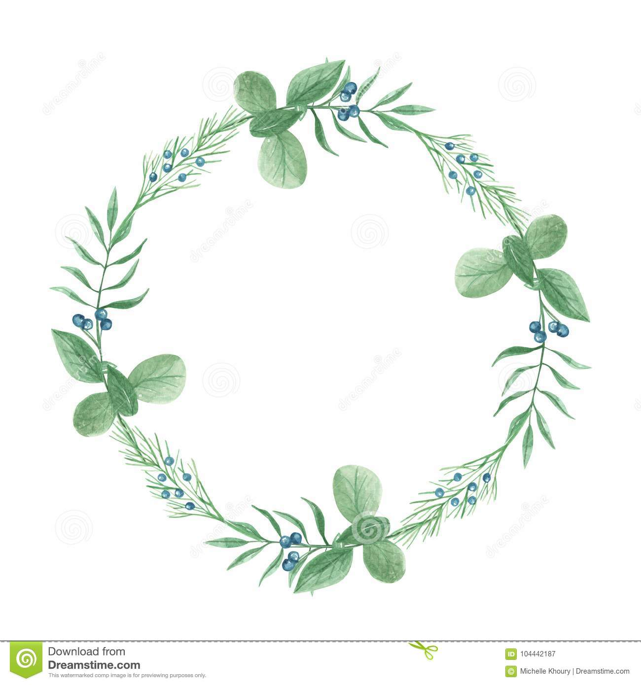 14994d568f45 Watercolor Foliage Circle Wreath Winter Berries Leaves Festive Frame ...