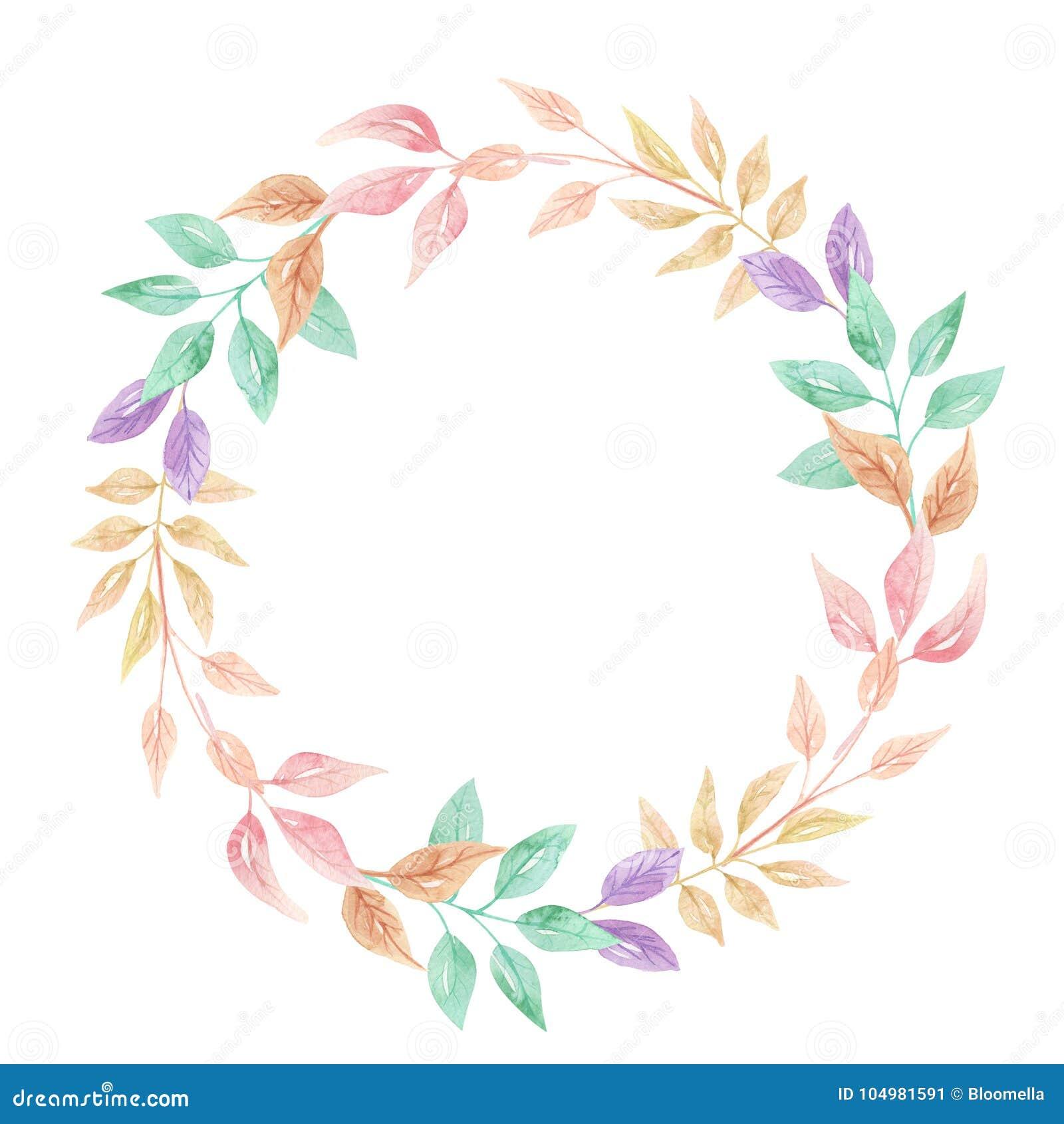 watercolor foliage summer leaves digital peach lilac wreath garland