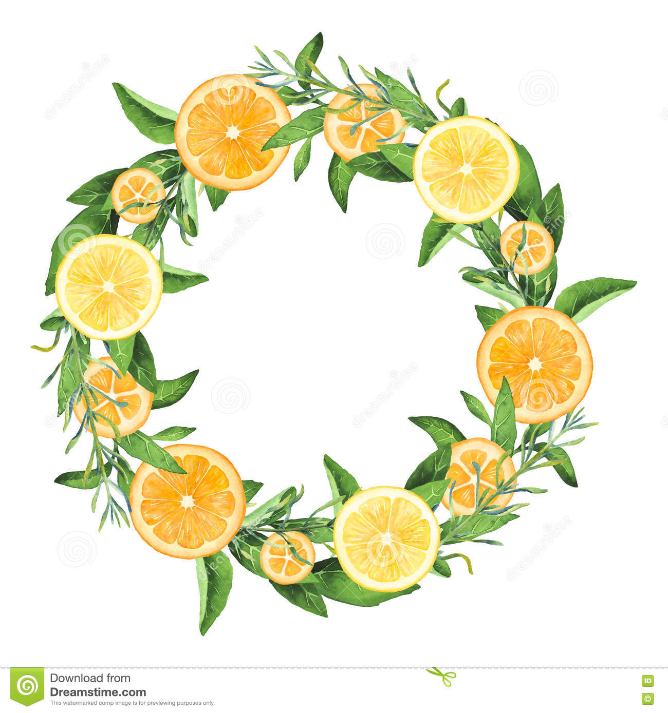 Hand Painted Watercolor Lemons And Oranges Wreath Stock Illustration Illustration Of