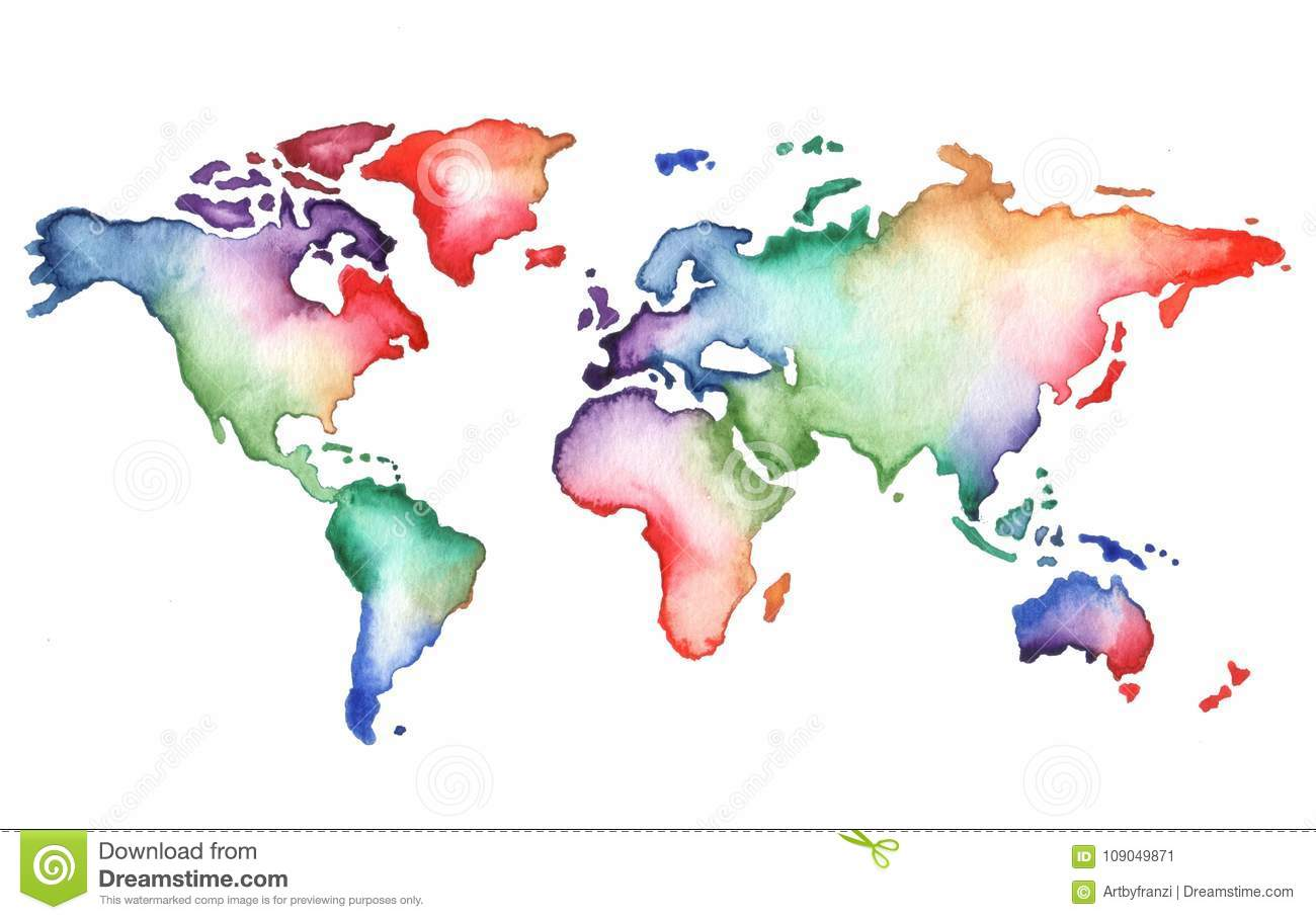 Hand Painted Watercolor World Map Stock Illustration ...