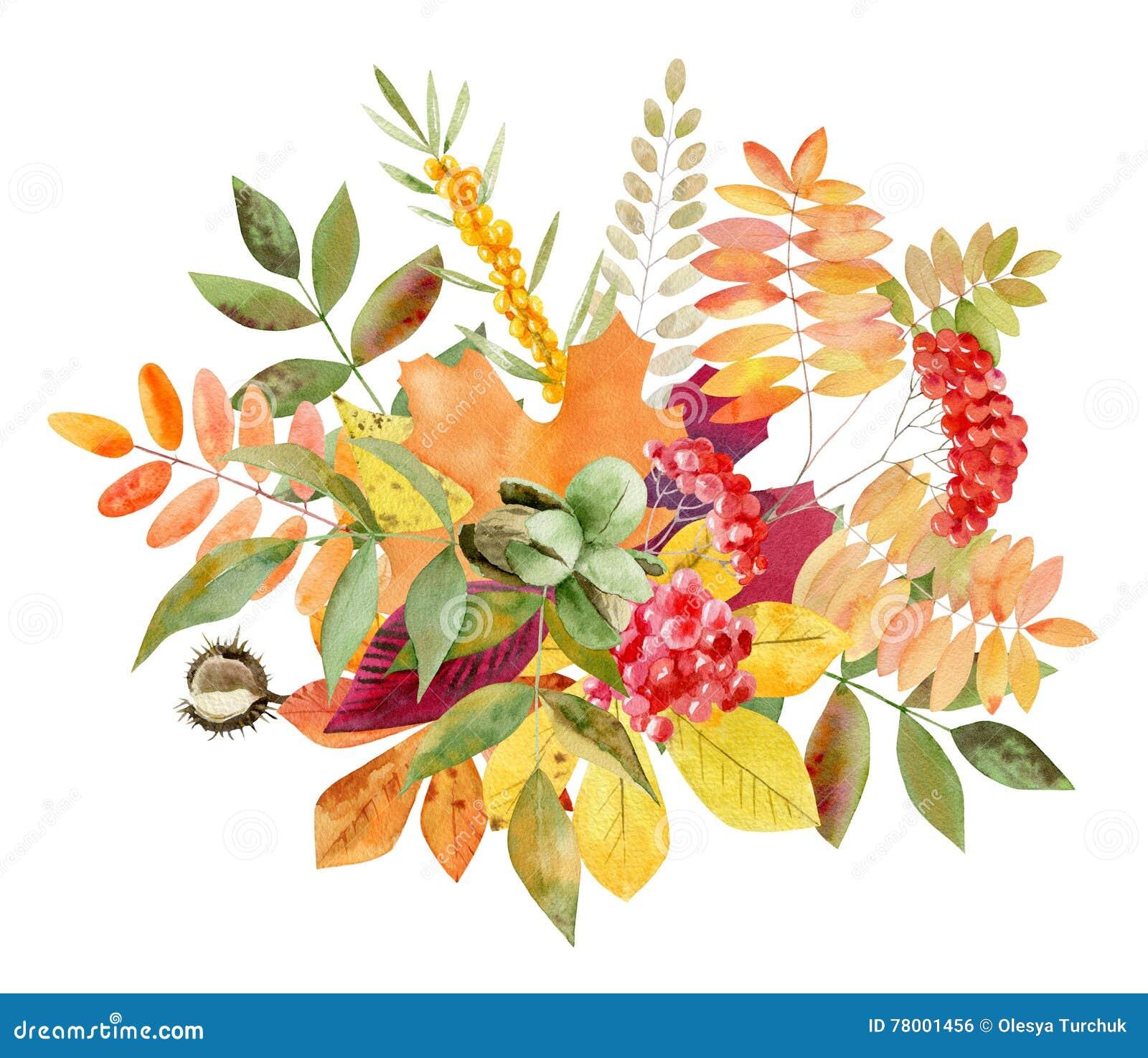 Watercolor Autumn Border Hand Painted Pine Cone Acorn