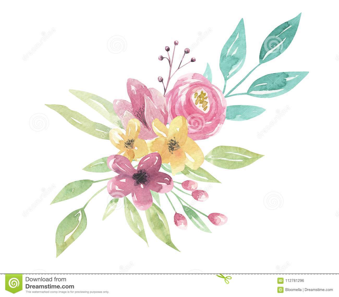 Watercolor floral pink bouquet purple flowers leaves green watercolor floral pink bouquet purple flowers leaves green arrangement izmirmasajfo