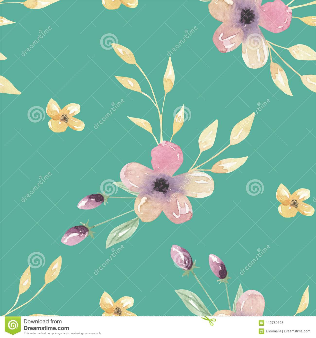 Watercolor Teal Flowers Pink Leaves Green Floral Seamless Patterns