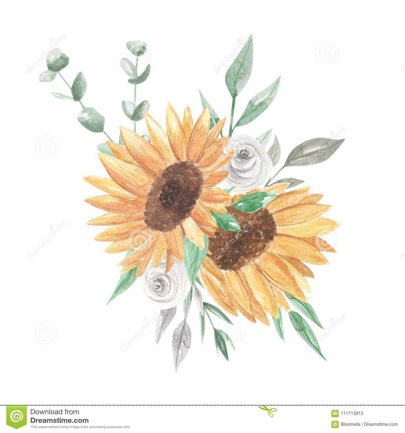 Sunflowers Watercolor Bouquets Pretty Clipart Flowers White Roses Stock Illustration Illustration Of Eucalyptus Bouquet 111713913