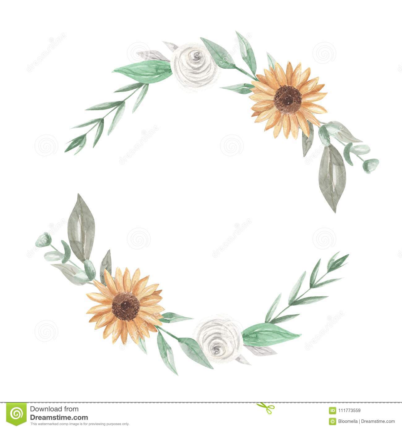 Sunflowers Watercolor Wreath Garland Clipart Flowers White ...