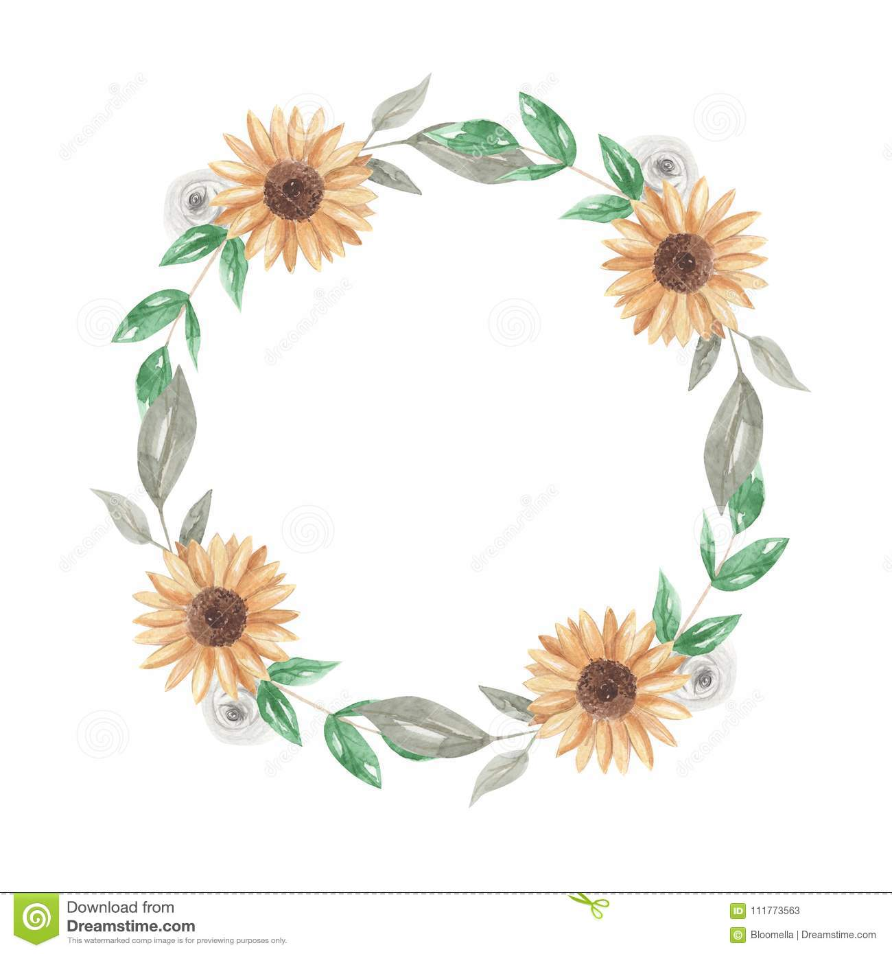 Sunflowers Watercolor Wreath Garland Clipart Flowers White Roses Stock Illustration Illustration Of Drawn Detailed 111773563