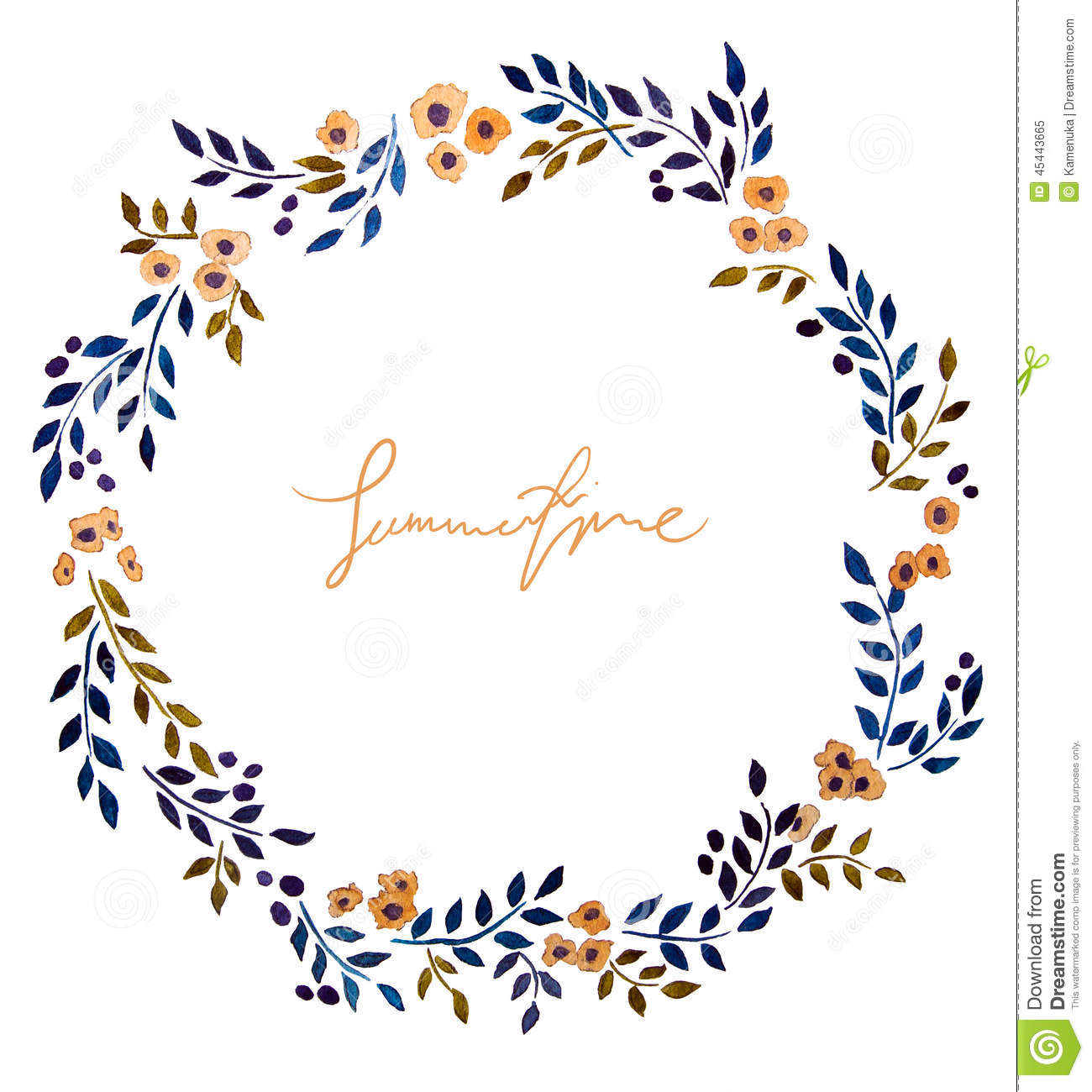 Hand Painted Watercolor Wreath. Stock Illustration - Image: 45443665