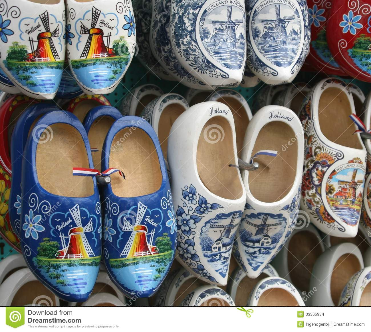 Original Hand Painted Klompen Wooden Shoes With Flags And Mills