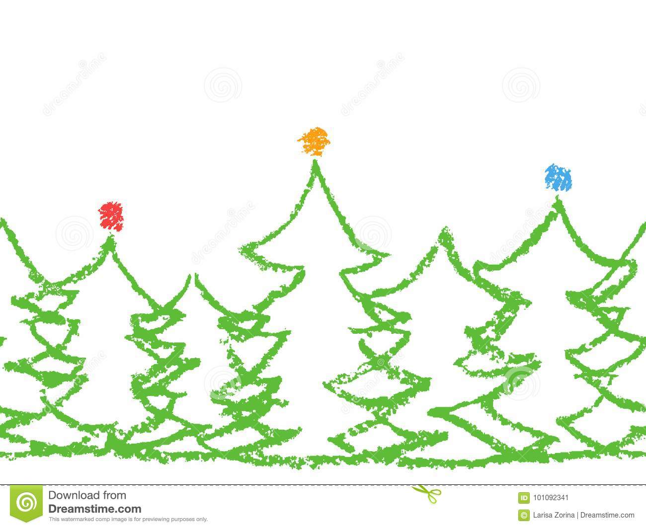 Crayon Child`s Drawing Merry Christmas Tree Pattern On White. Stock ...