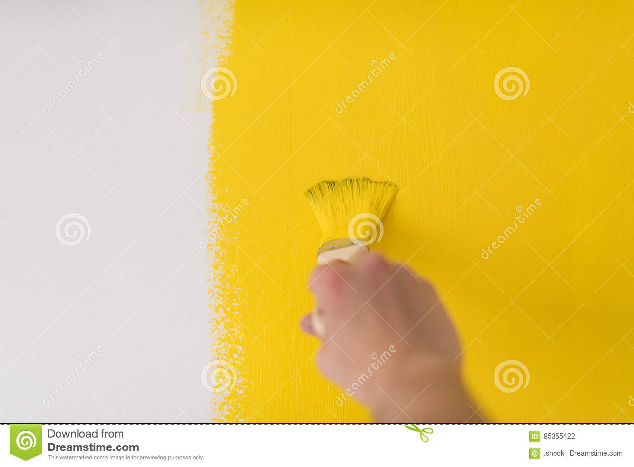 Hand painting wall stock photo. Image of pattern, equipment - 95355422