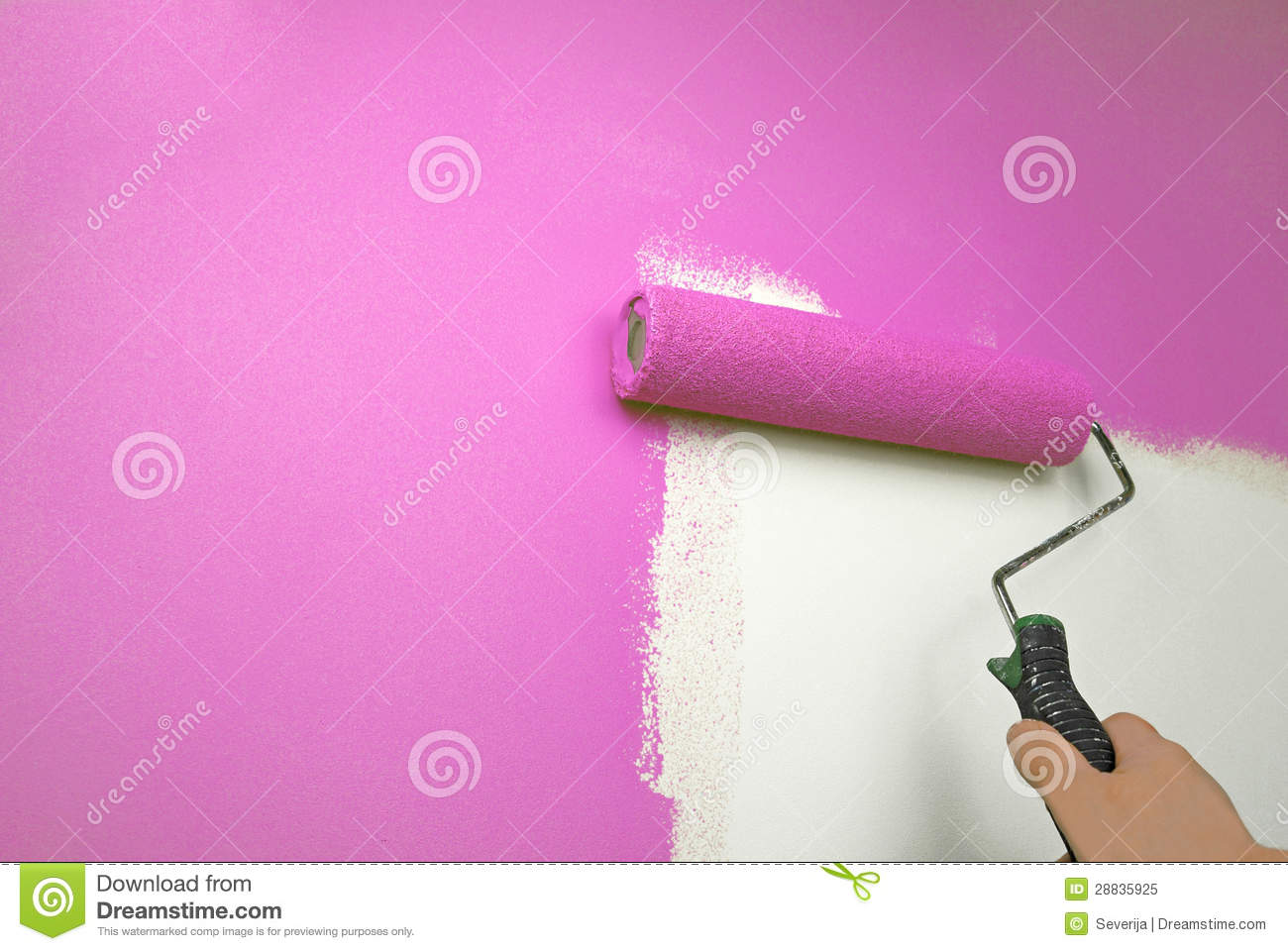 Hand Painting Wall Pink Stock Image Image Of House Handy 28835925