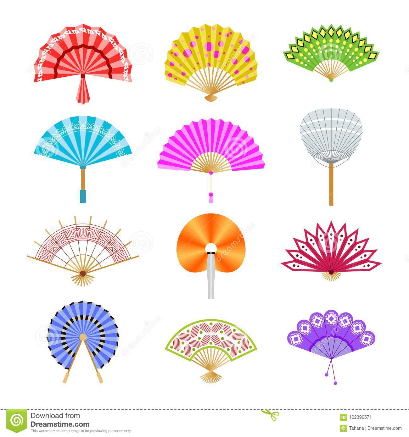 Hand Paper Fan Vector Icons. Chinese Or Japanese Beautiful ...
