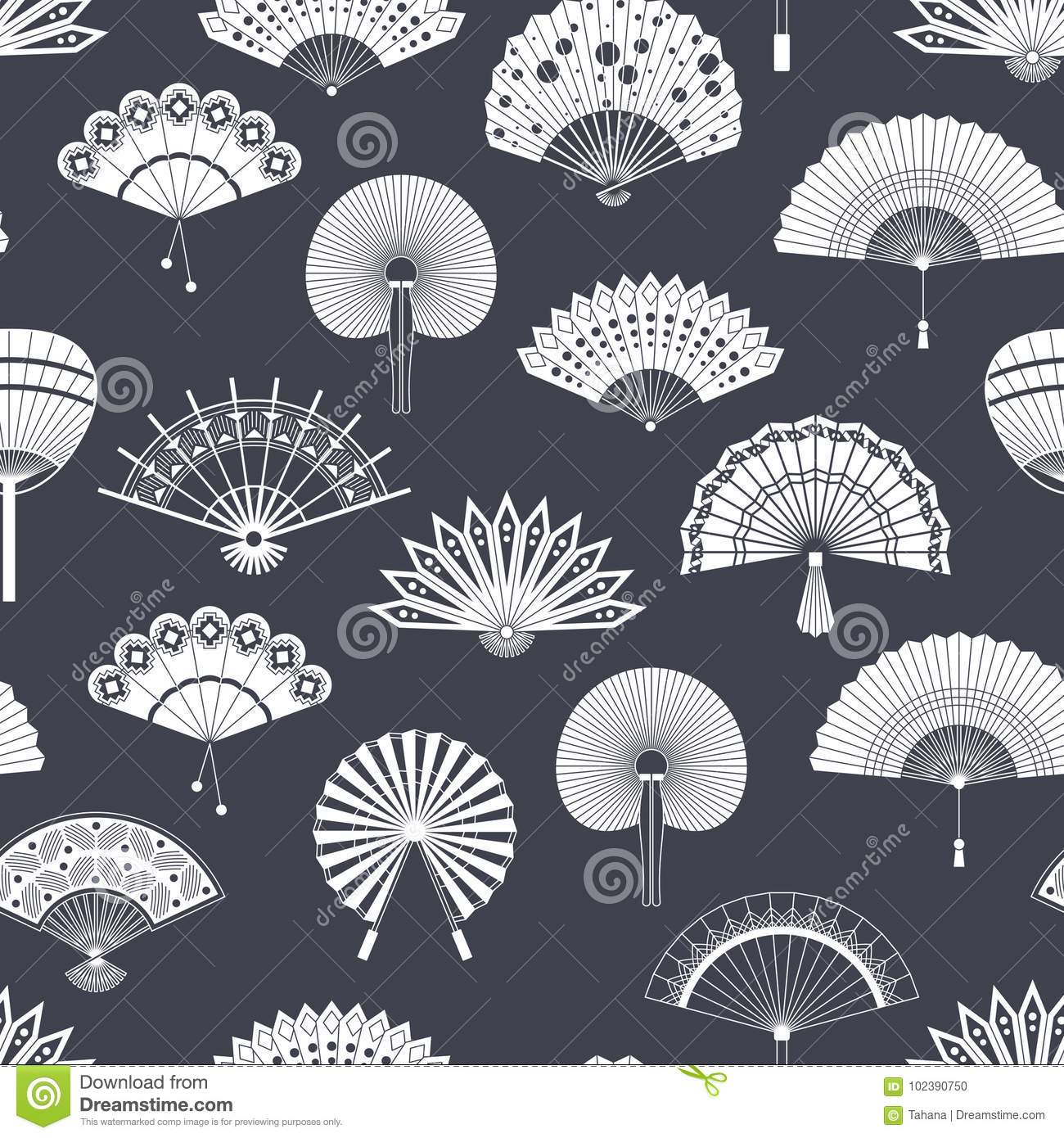 Hand paper fan vector seamless pattern. Chinese or japanese beautiful fans  . Black and white asian souvenir fans illustration. Flat style