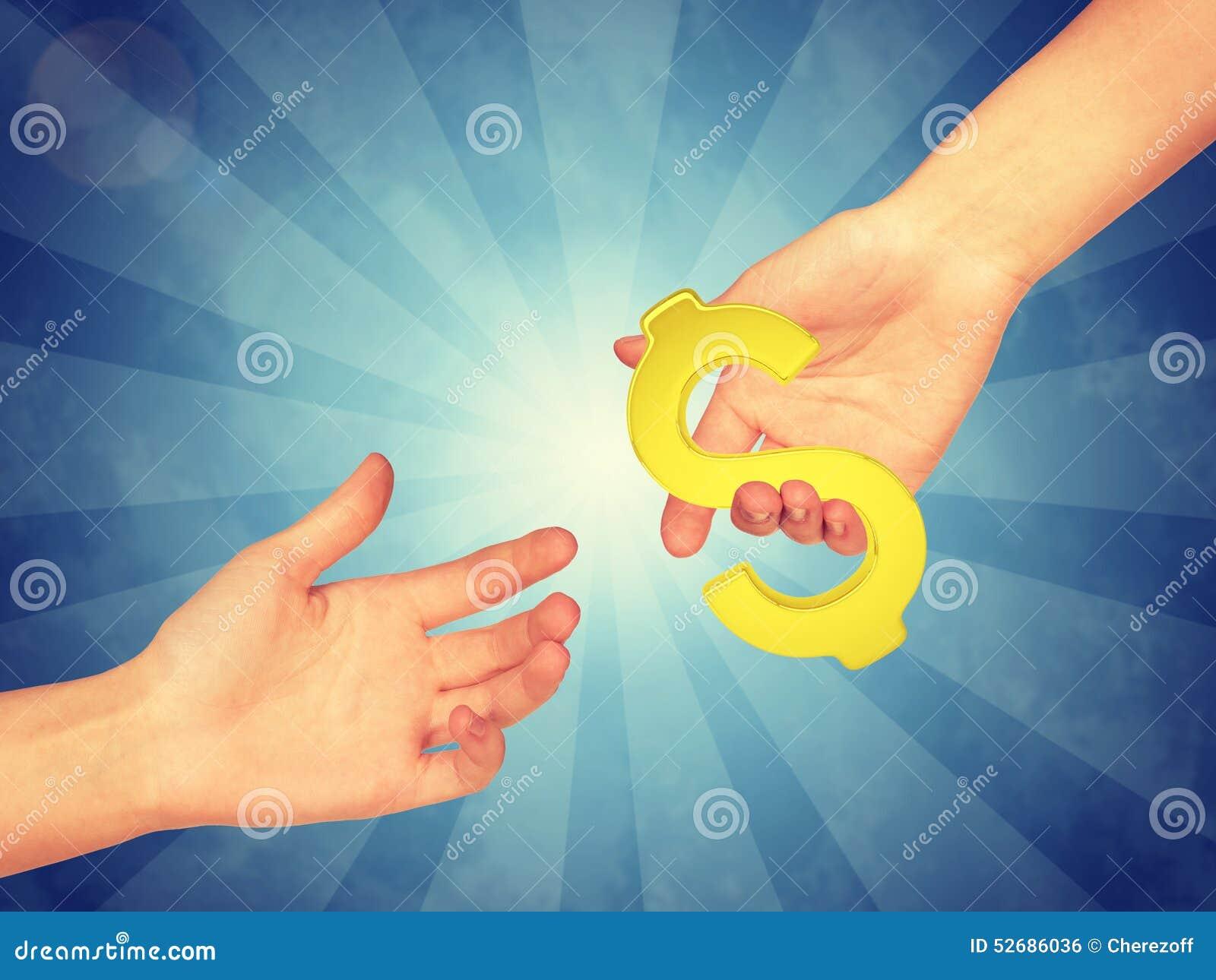 Hand passing gold dollar