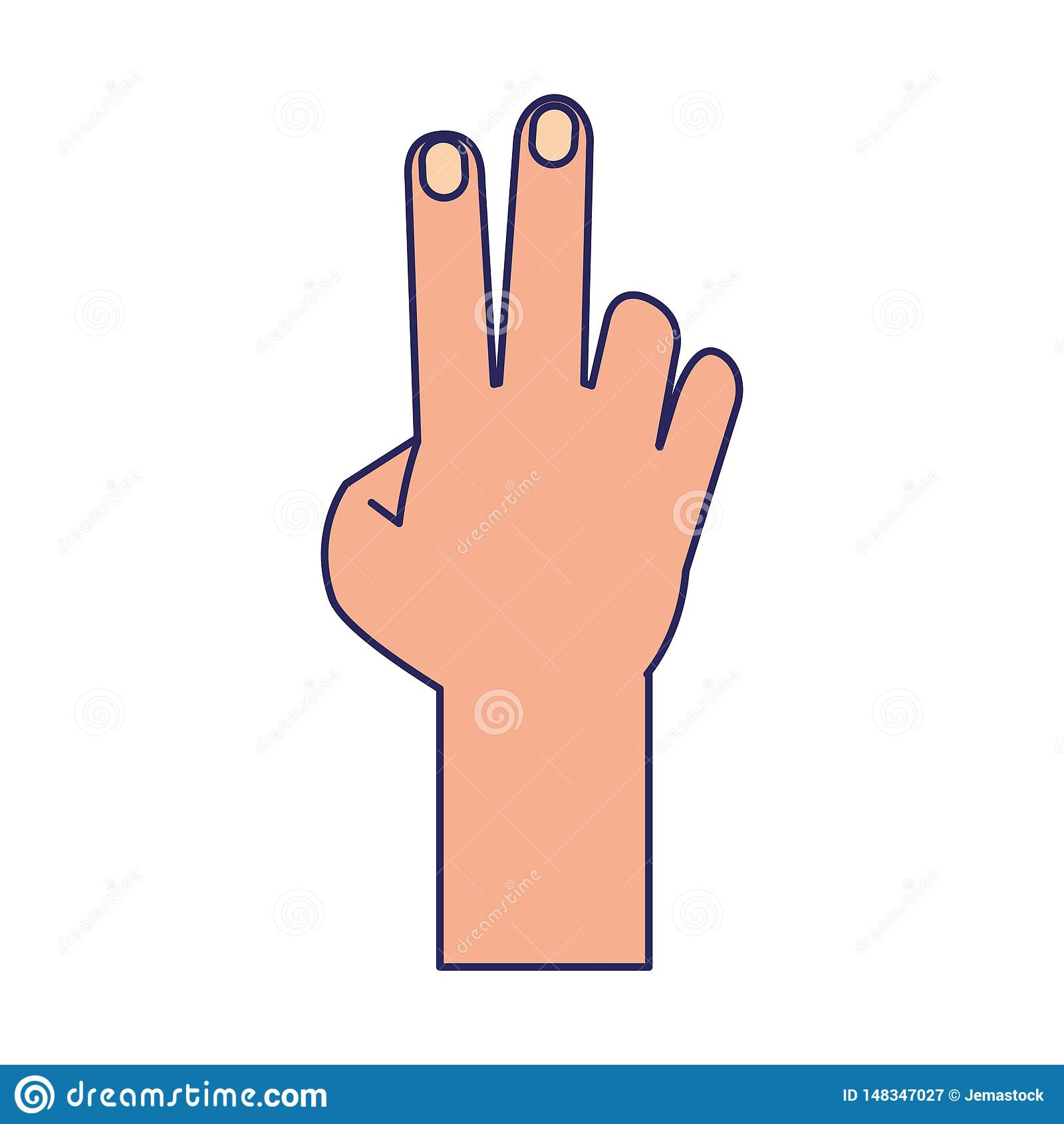 Hand With Peace Sign Cartoon Isolated Blue Lines Stock