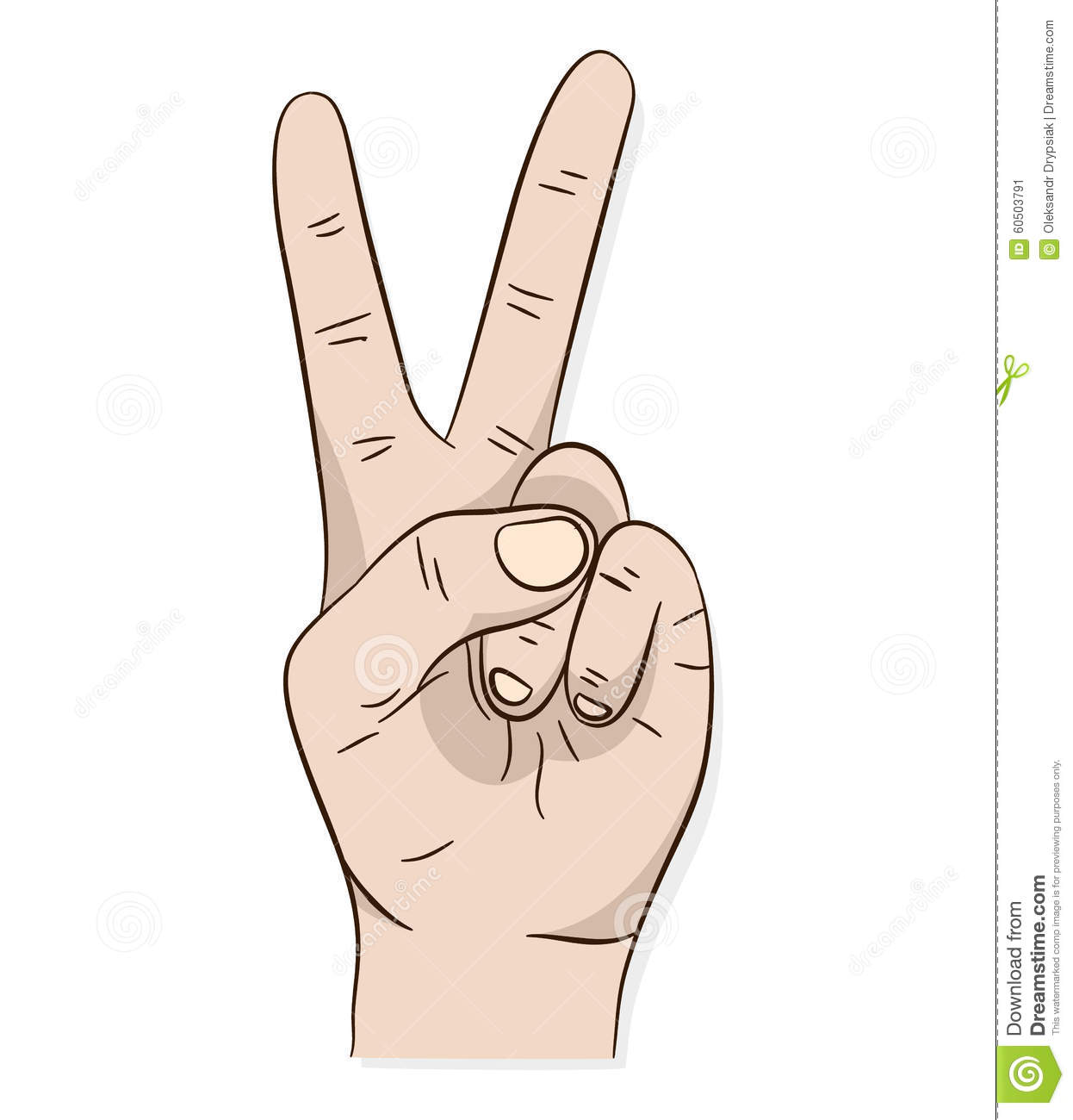 Hand peace or victory sign stock vector. Illustration of fist - 60503791