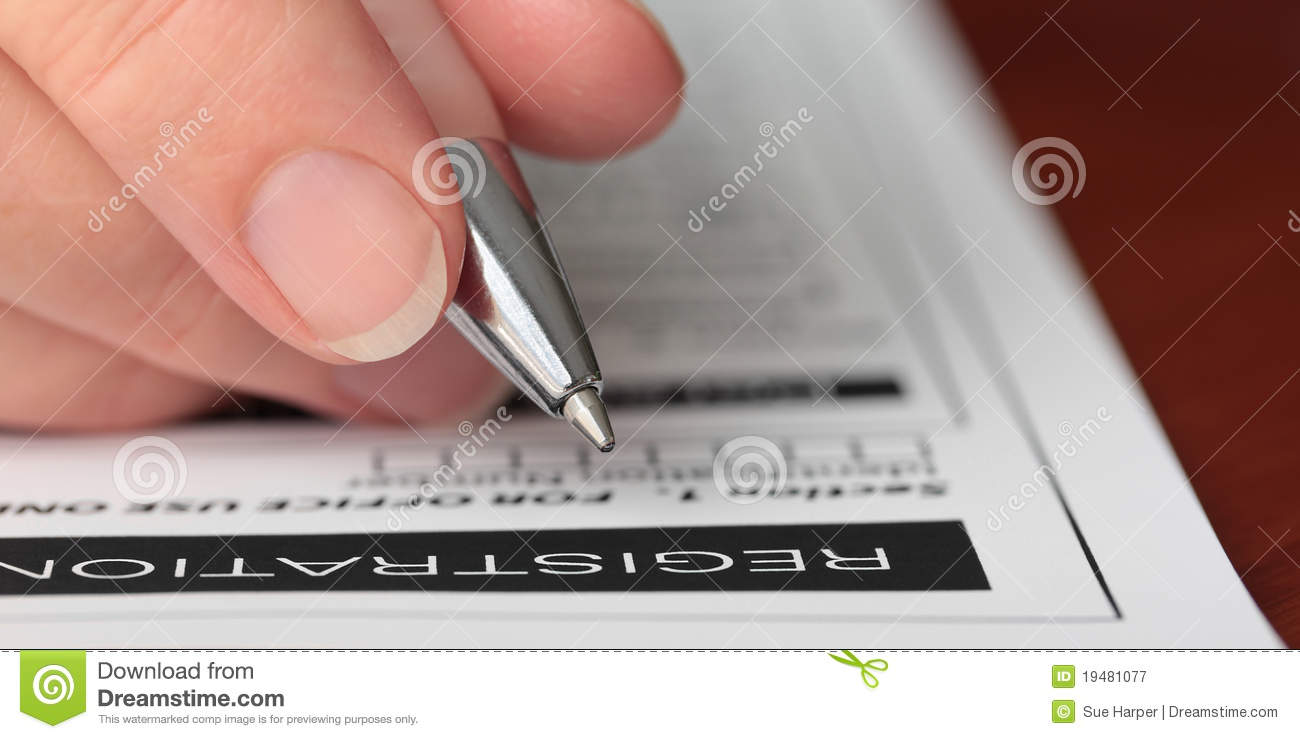 Hand With Pen Filling Out A Form Closeup Royalty Free Stock ...