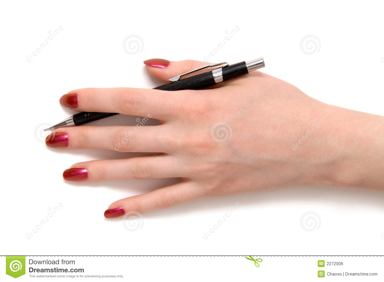 Hand With Pen Top View Stock Photo. Image Of Elegant