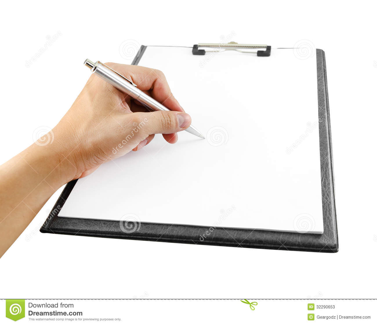 Hand With Pen Writing On Clipboard Stock Photos