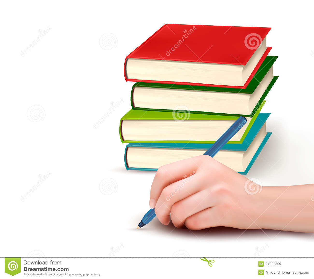 Hand with pen writing on paper and stack of books royalty Calligraphy books free