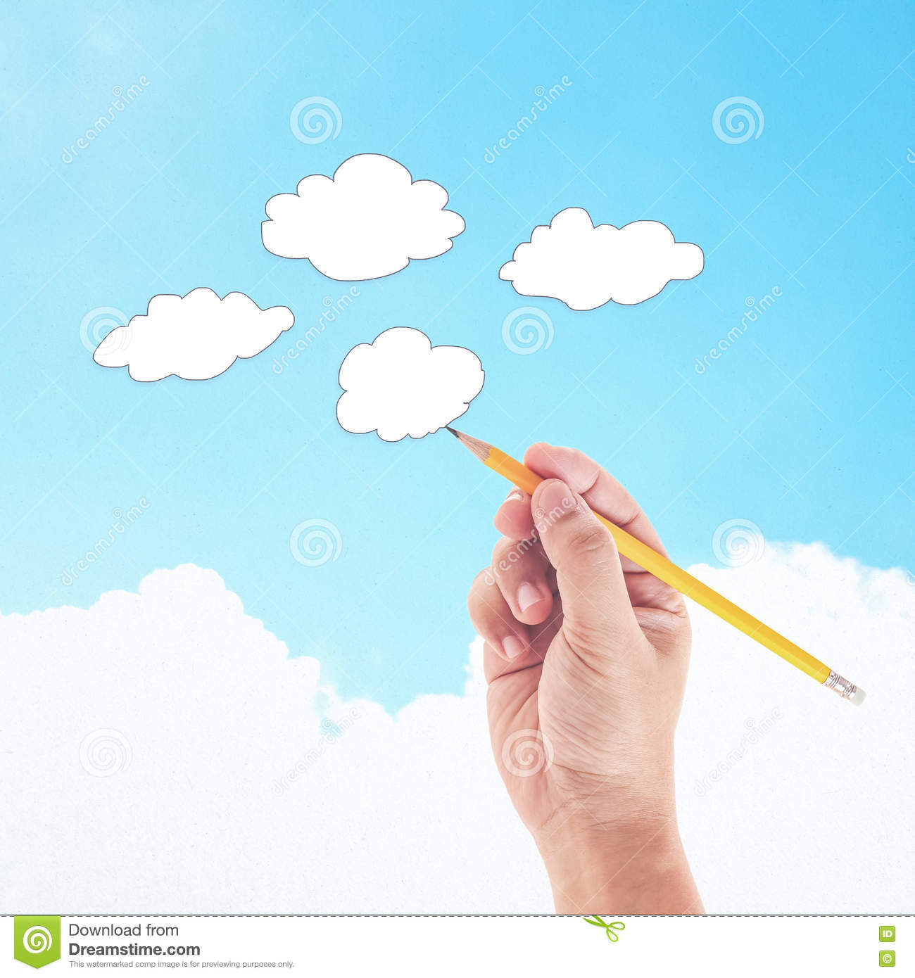 Hand with pencil drawing clouds stock photo image of information