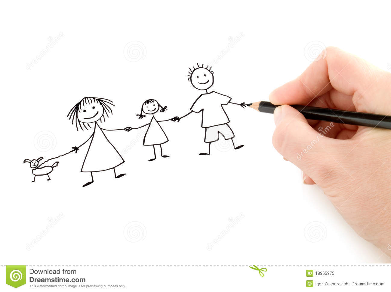 how to draw a happy family