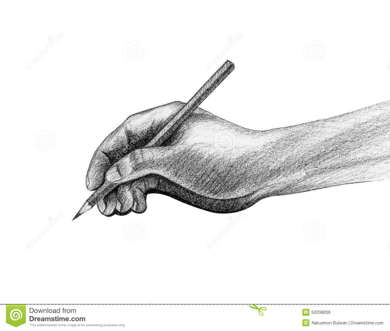 Hand with pencil write drawing