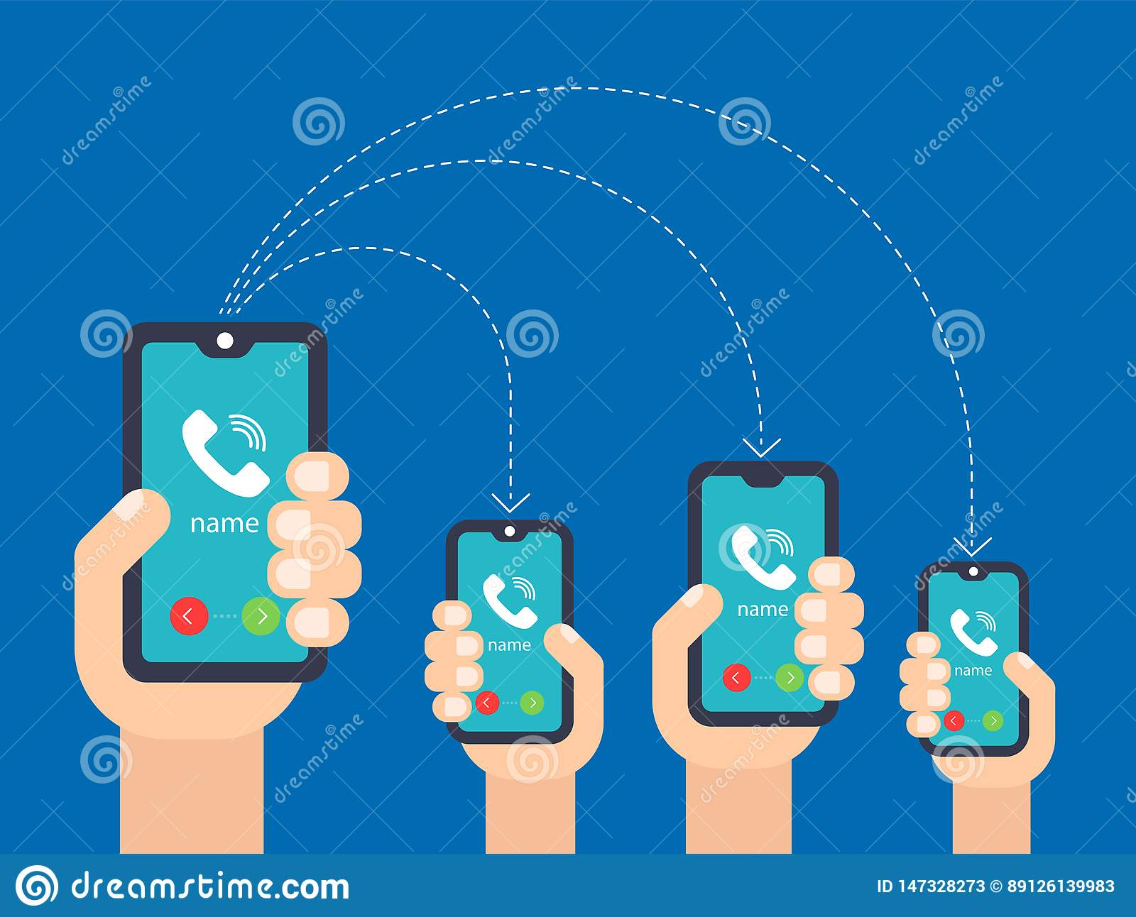 Hand with the phone. call to multiple smartphones.