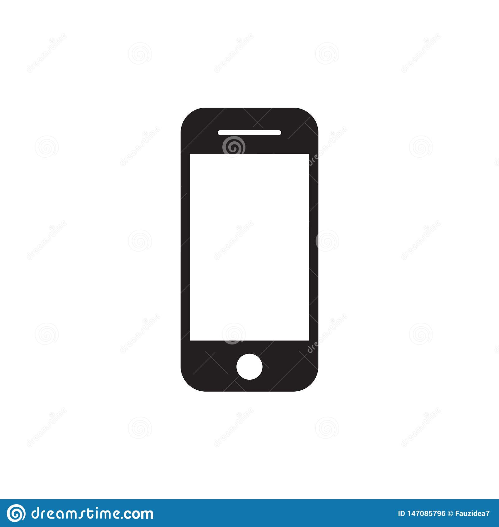 Hand phone icon vector. mobile phone smartphone device gadget in iphone style on the white background