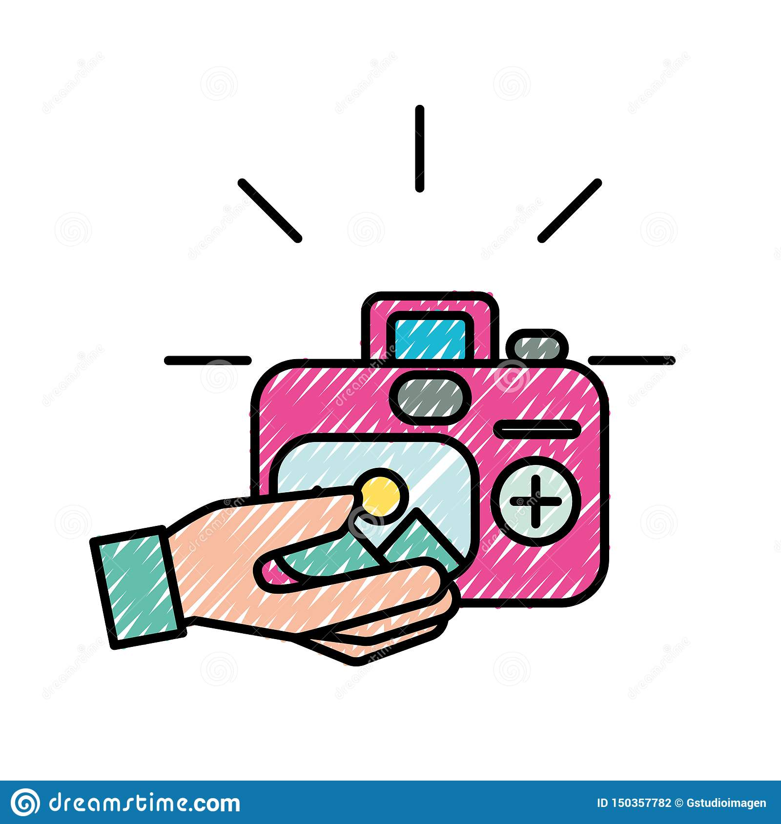hand with photographic camera picture art