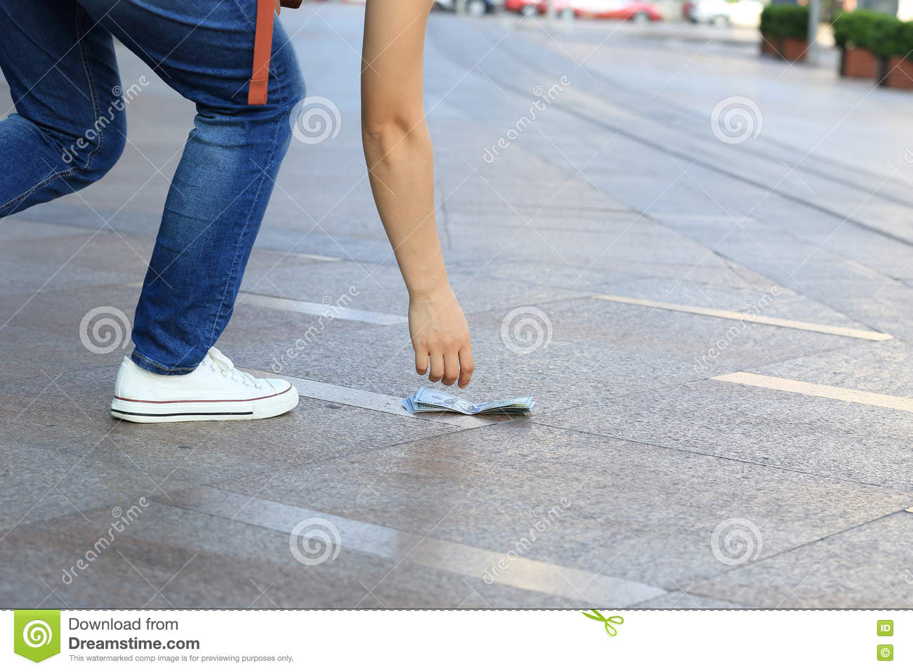 hand pick up lost money from ground stock image image